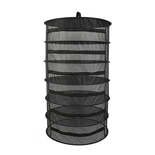Blusea Trocknungsnetz, 6/8 Schichten, für Pflanzen, zum Trocknen von Kräutern, zum Aufhängen, faltbar, Netzgewebe mit Reißverschluss Black 6-Layer (Black 6-Layer)