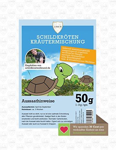 Linsor Schildkröten Kräutermischung 50g - Schildkröten Samen, Schildkröten Saatgut, Schildkrötenwiese, Kräuterwiese, Kräutermischung, Schildkrötenfutter